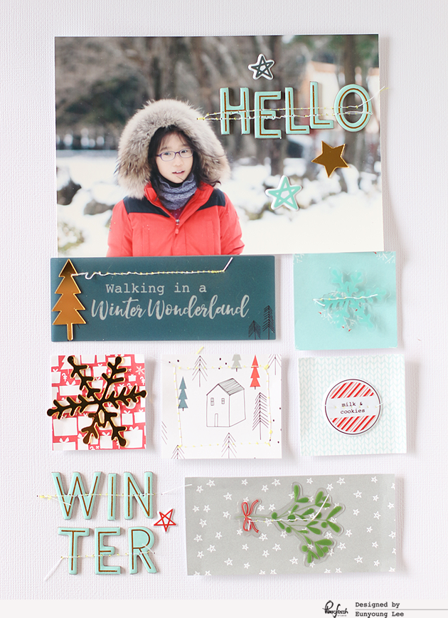 A layout & Christmas tags with 'Oh Joy'