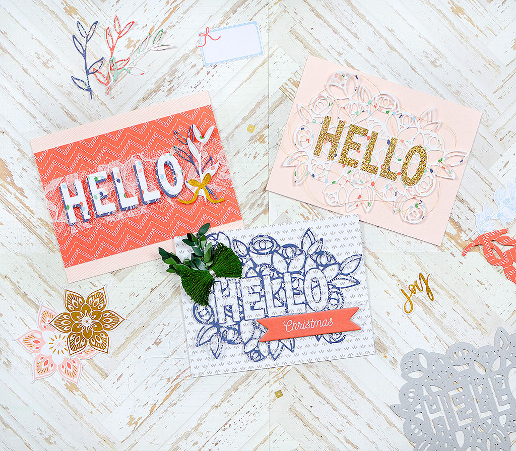 Card Trio featuring Hello with a Bouquet Die | Rebecca Luminarias