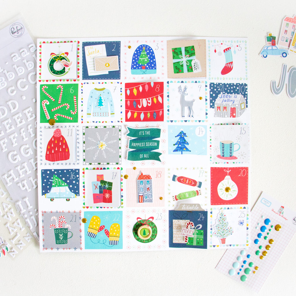 Advent Calendar by ScatteredConfetti. // #scrapbooking #pinkfreshstudio #homefortheholidays
