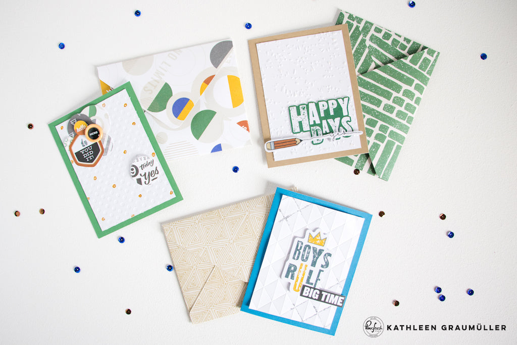 Masculine Cards by ScatteredConfetti using Boy's Fort // #scrapbooking #pinkfreshstudio