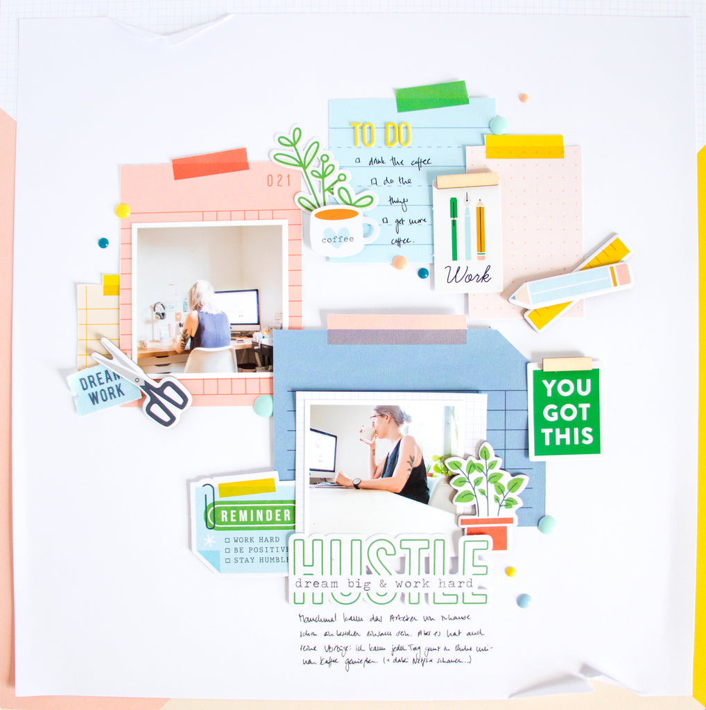 Hustle by ScatteredConfetti. // #scrapbooking #pinkfreshstudio #officehours