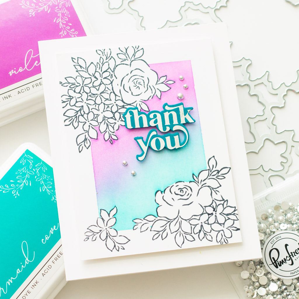Hydrangea and Rose Stamp Masking Card