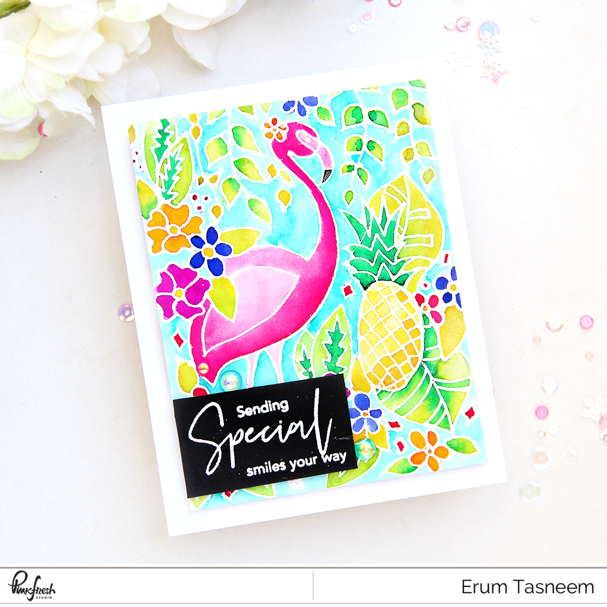 Pinkfresh Studio Let's Flamingle Stamp Set | Erum Tasneem | @pr0digy0
