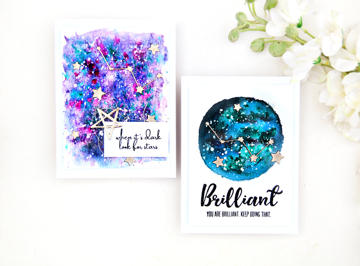 Pinkfresh Studio Constellation Stamp and Die Set + Liquid Watercolours to make the galaxy background | Erum Tasneem | @pr0digy0