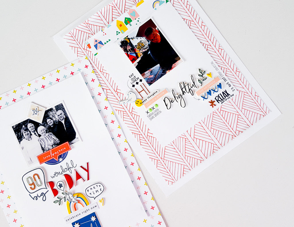 Scrapbooking layouts with Pinkfresh Studio's papers, stamps and embellishments by Janna Werner