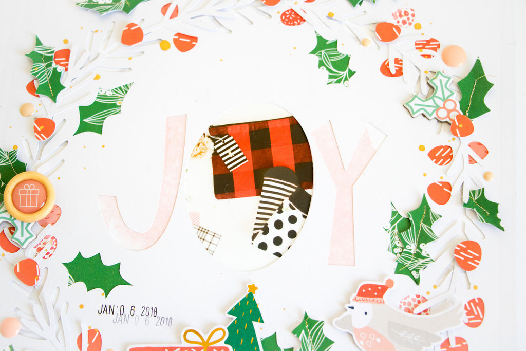 JOY by ScatteredConfetti. // #scrapbooking #pinkfreshstudio #holidayvibes