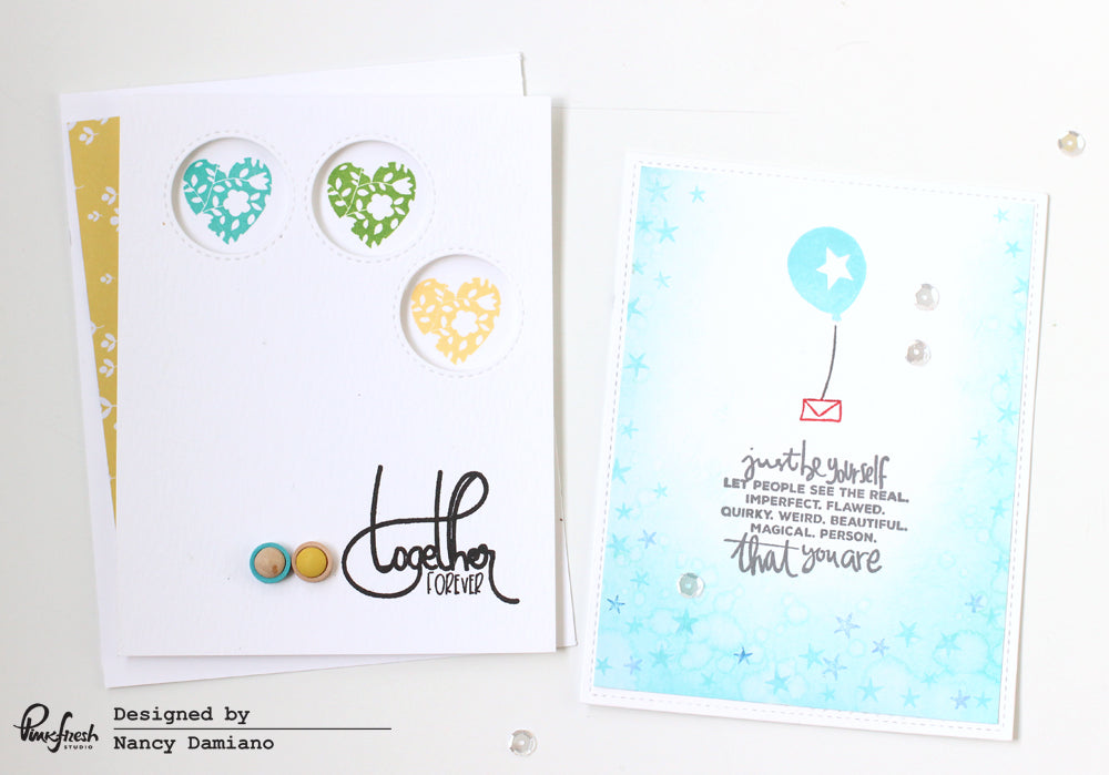 Pinkfresh Studio Cards by @nancydamiano