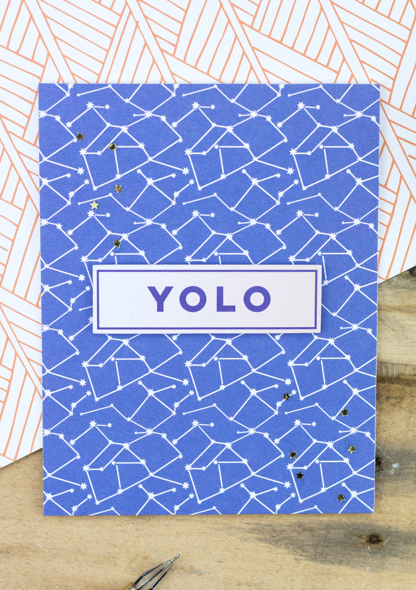 Pinkfresh Studio Dream On Cards - YOLO Constellation Card by Taheerah Atchia