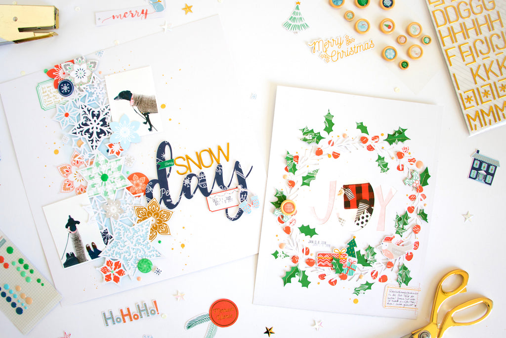 Holiday Vibes Layouts by ScatteredConfetti. // #scrapbooking #pinkfreshstudio