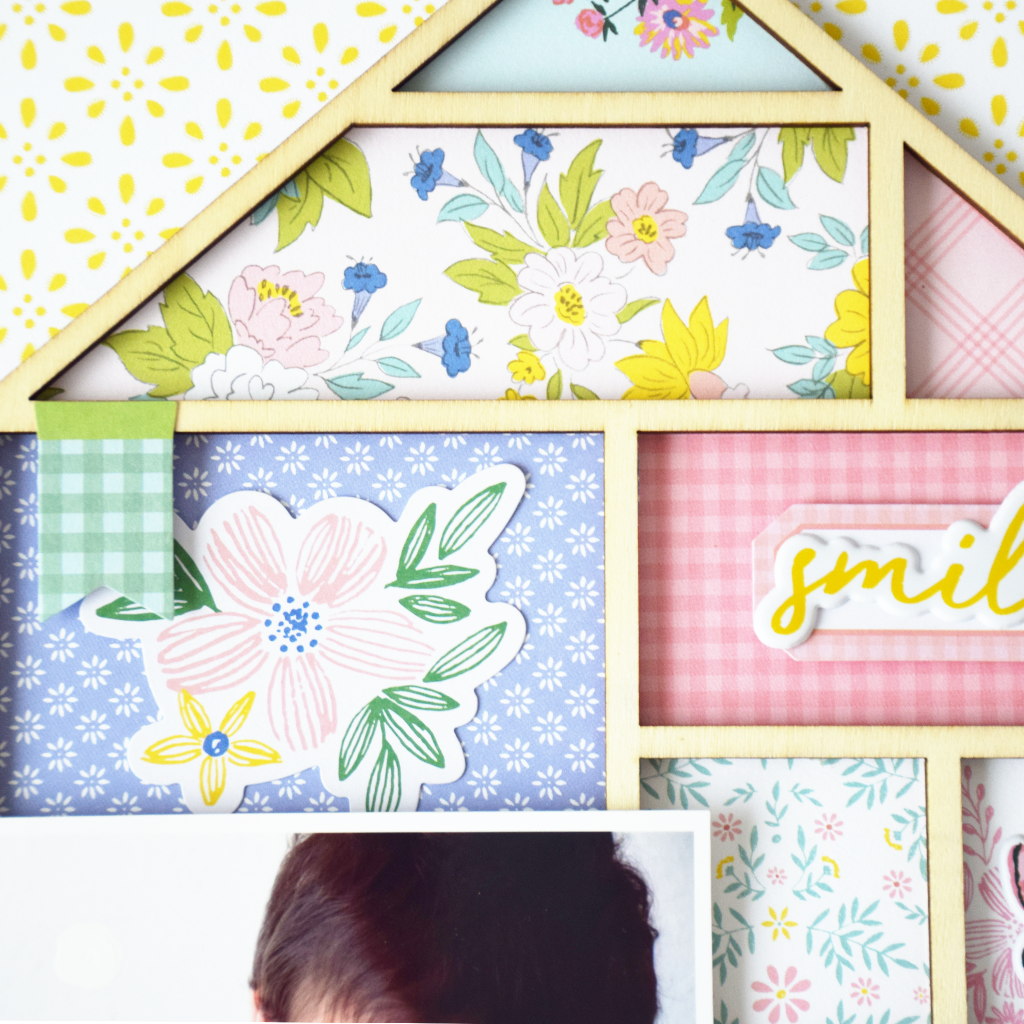 Layout using Happy Blooms collection by Pink Fresh Studio