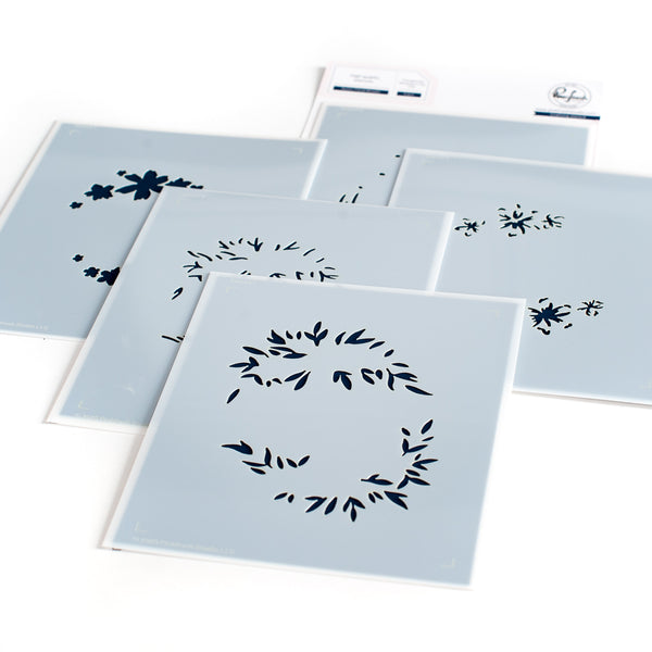 Rustic Floral Wreath layering stencil set