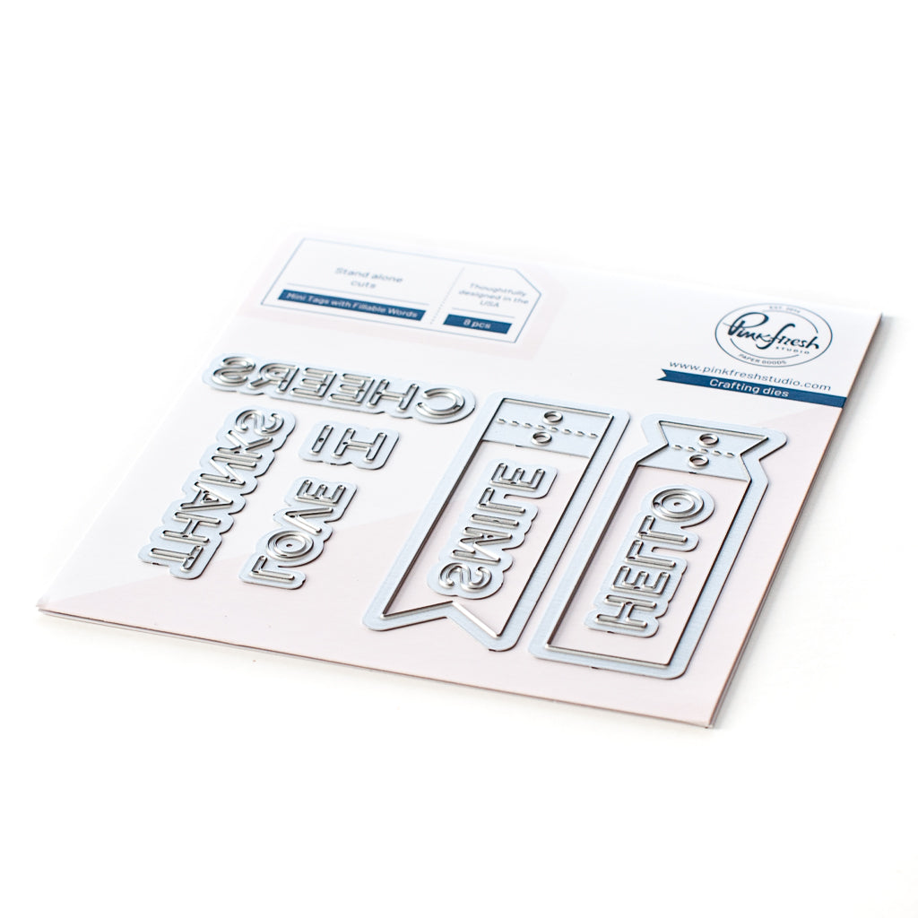 Mini Tags with Fillable Words die set