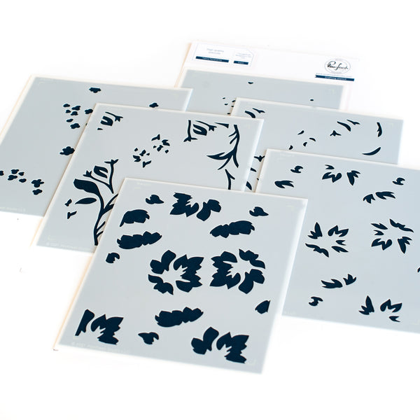 Fancy Floral Print layering stencil set