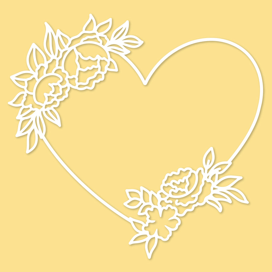 Heart & Floral cut file
