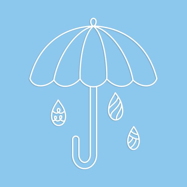 Umbrella and Raindrops Cut File
