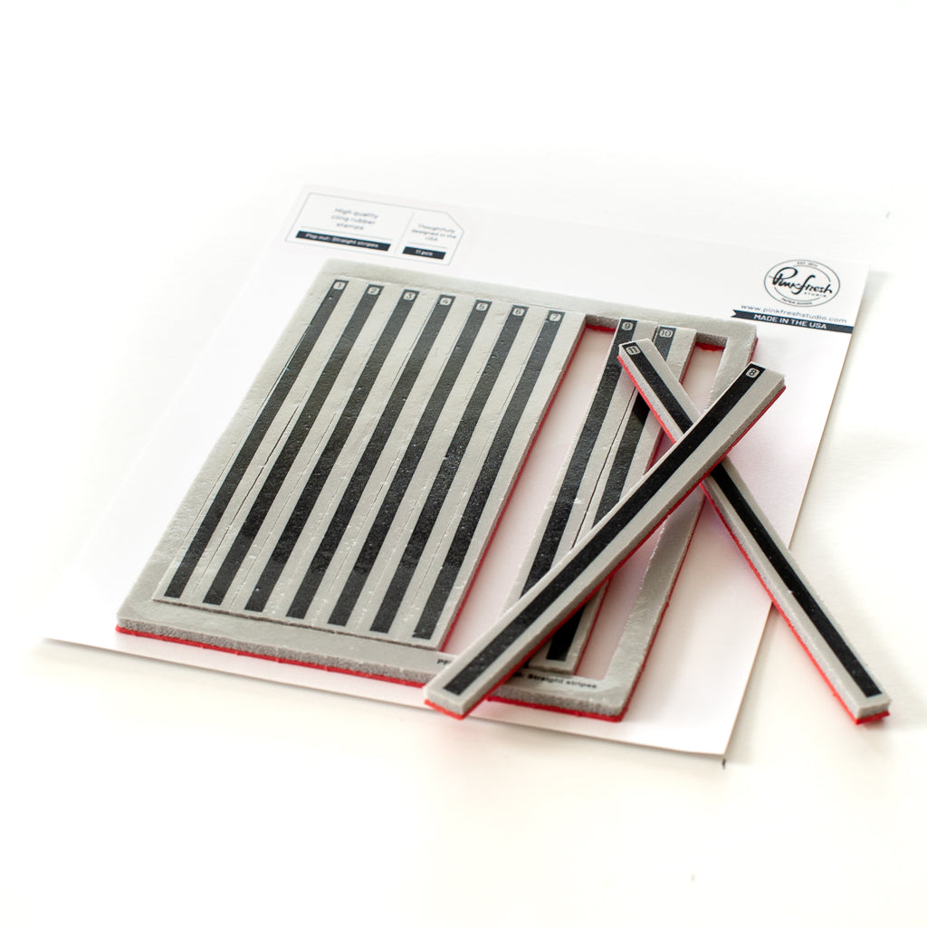 Pinkfresh Studio Cling Rubber Background Stamp Set A2-Pop-Out Straight Stripes