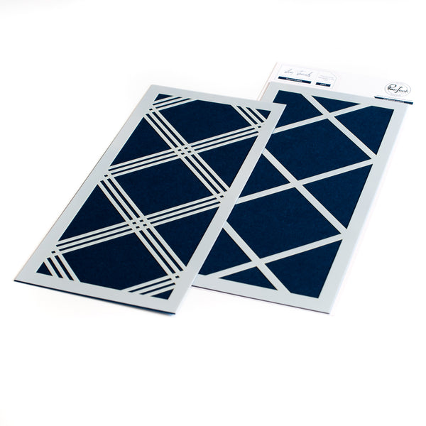 Diamond Plaid layering stencil set