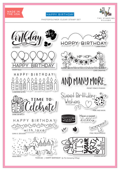 Stamping village collaboration stamp set:  Happy birthday