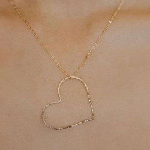 A M O R E | Gold or Silver Hammered Open Heart Necklace Handmade | TL Jewelry