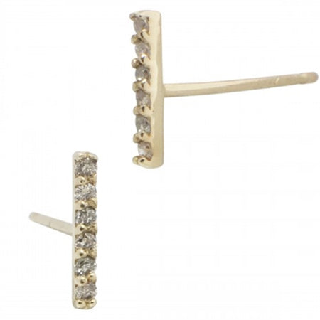 Bar Earring Studs | 14K Gold and Diamonds