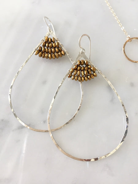 Silver and Gold Teardrop Hoop Earrings