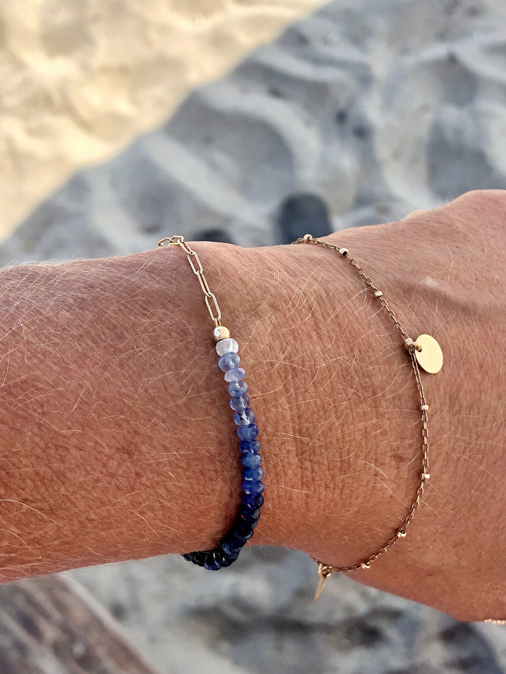 Beaded Adjustable Sapphire Bracelet