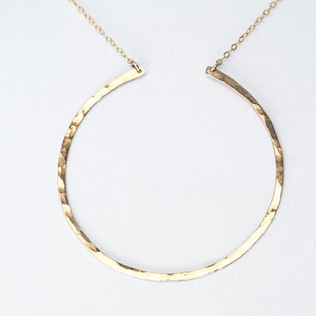 L I S A | Hammered Open Circle Handmade Necklace | TL Jewelry