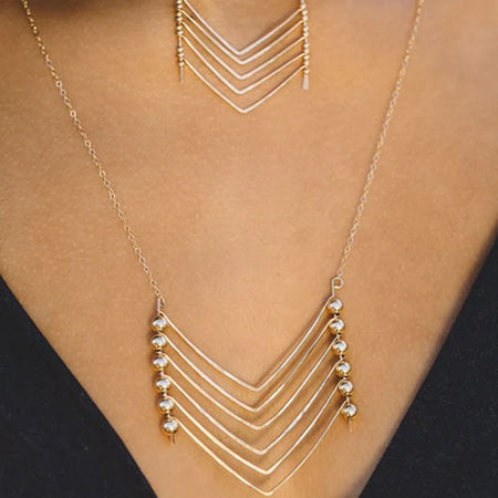 Chevron Necklace Stacked