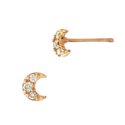 Moon Stud Earrings | 14K Gold and Diamonds