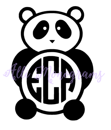 Panda Monogram Decal