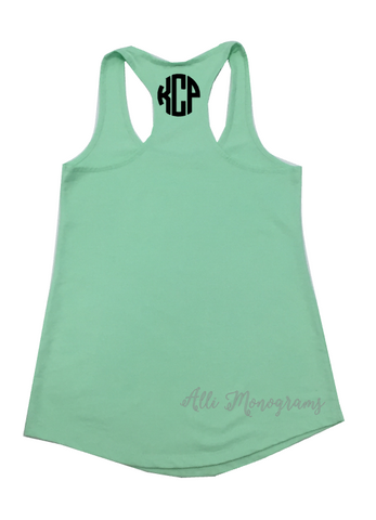 Monogram Racerback Tank with Back Design
