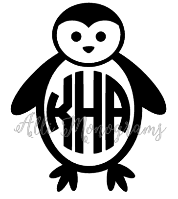 Penguin Monogram Decal