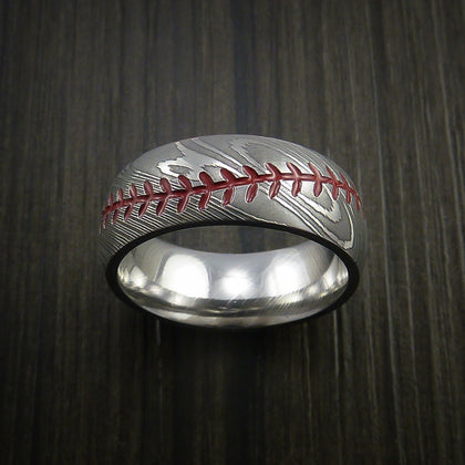 Damascus Steel Baseball Rings