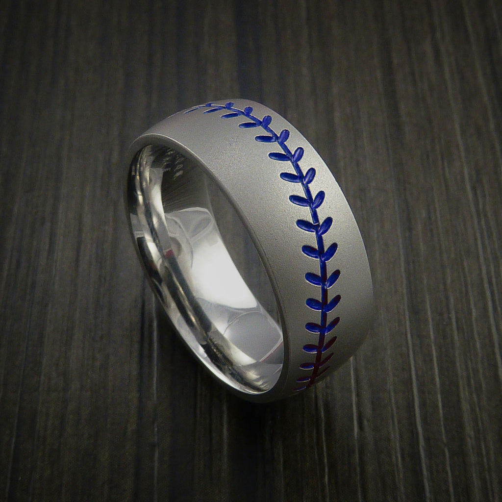 Titanium Baseball Ring with Bead Blast Finish - Baseball Rings  - 7