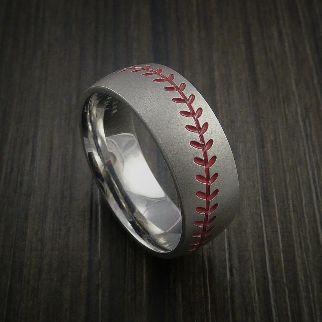 Titanium Baseball Ring with Bead Blast Finish - Baseball Rings  - 2