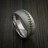 Titanium Baseball Ring with Bead Blast Finish - Baseball Rings  - 5