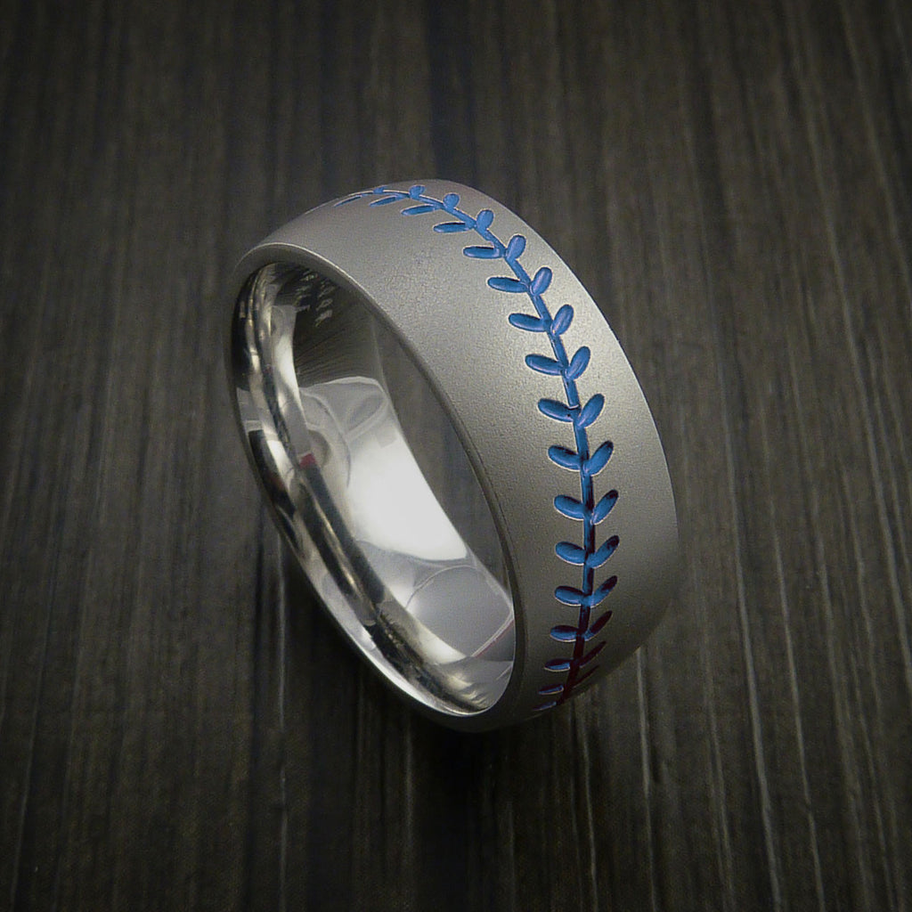 Titanium Baseball Ring with Bead Blast Finish - Baseball Rings  - 6