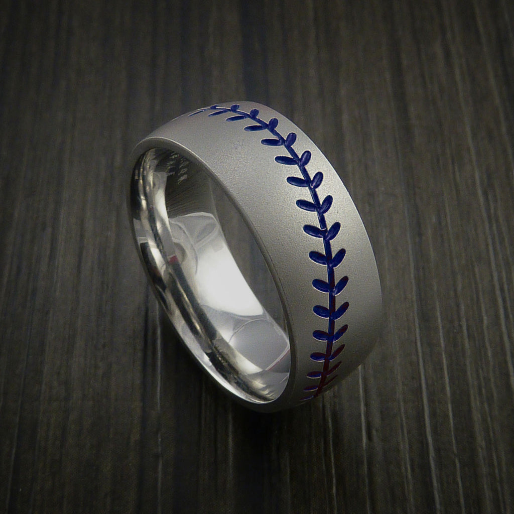 Titanium Baseball Ring with Bead Blast Finish - Baseball Rings  - 8