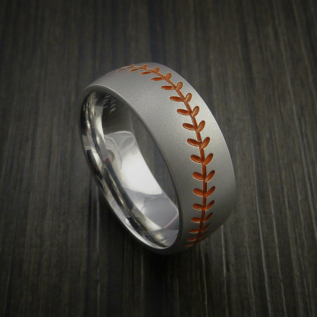Titanium Baseball Ring with Bead Blast Finish - Baseball Rings  - 3