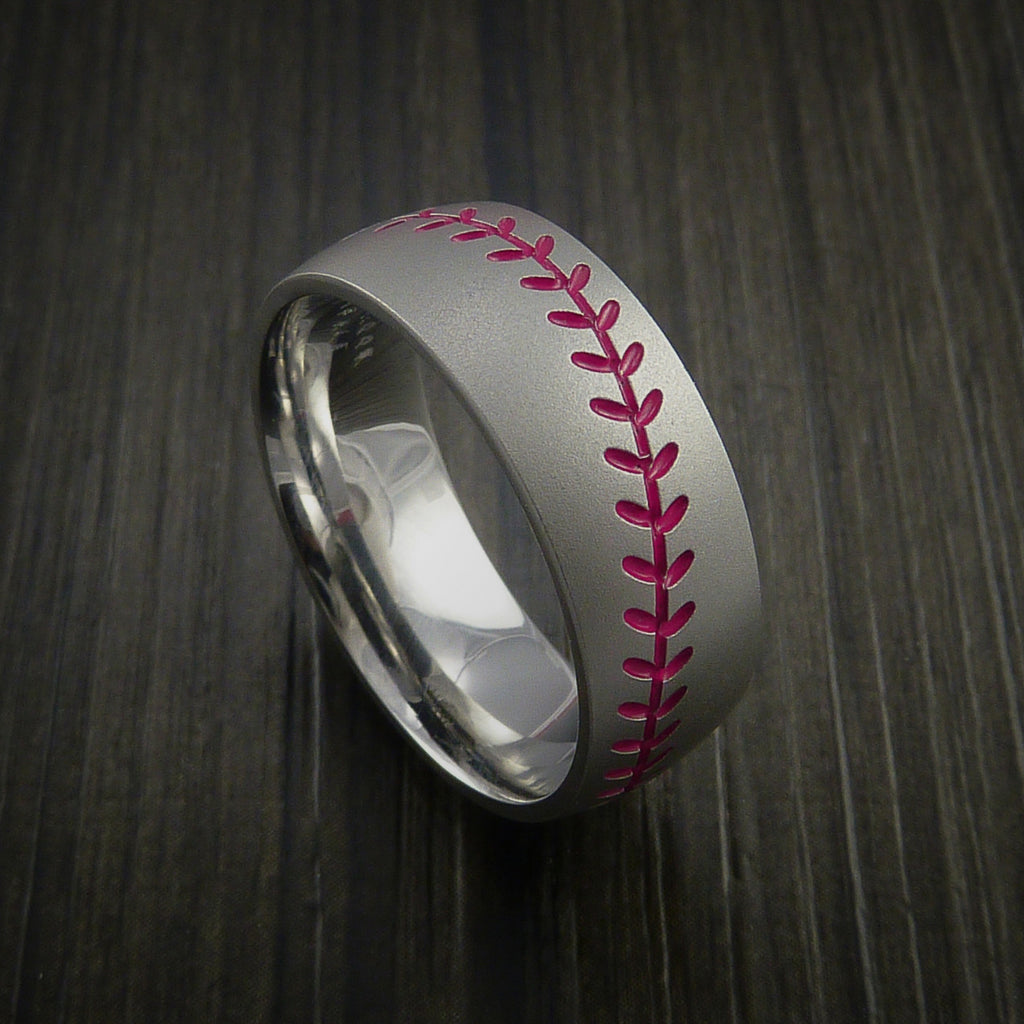 Titanium Baseball Ring with Bead Blast Finish - Baseball Rings  - 10