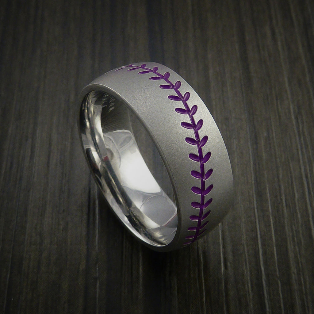 Titanium Baseball Ring with Bead Blast Finish - Baseball Rings  - 9