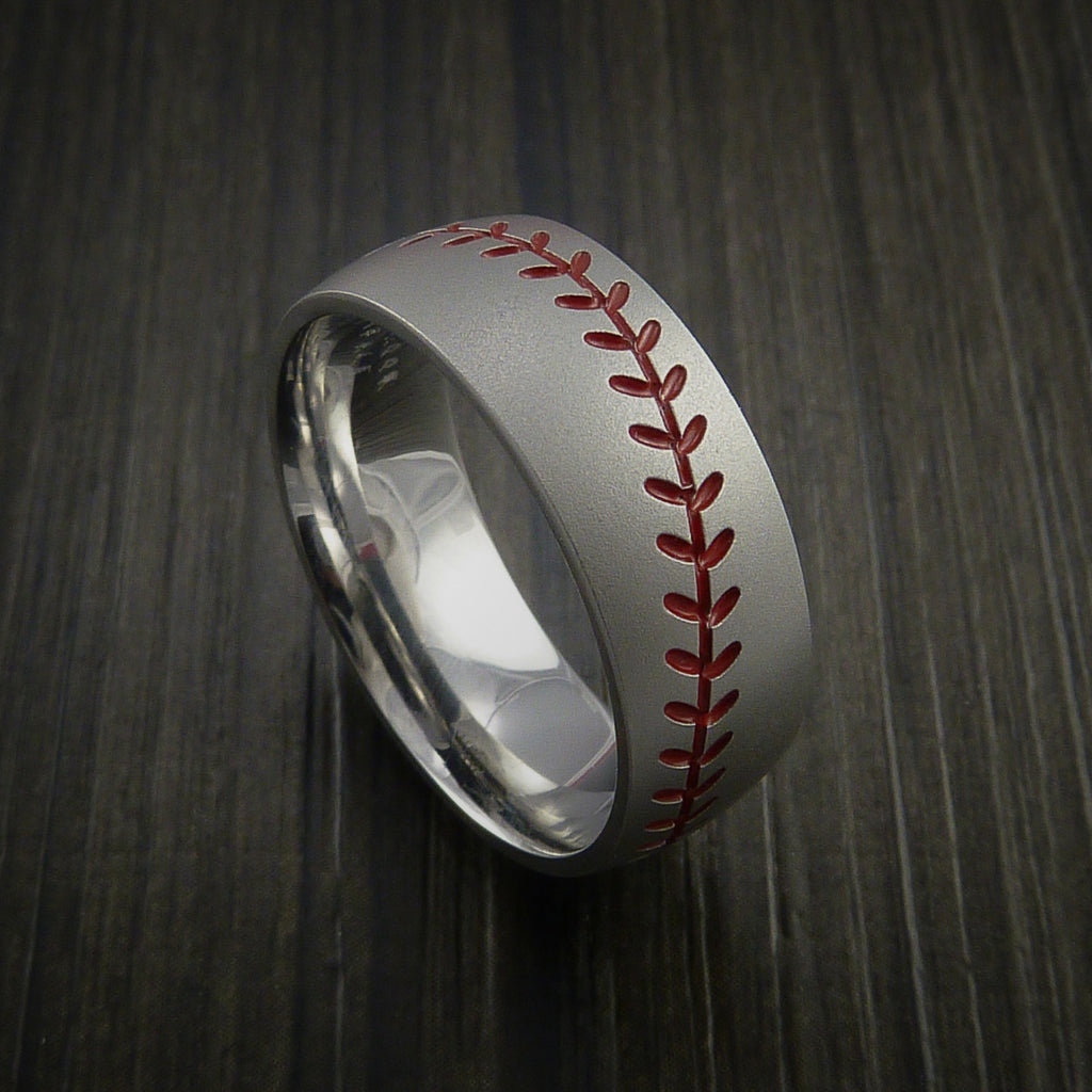 Titanium Baseball Ring with Bead Blast Finish - Baseball Rings