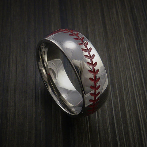 Titanium Baseball Ring with Polish Finish - Baseball Rings