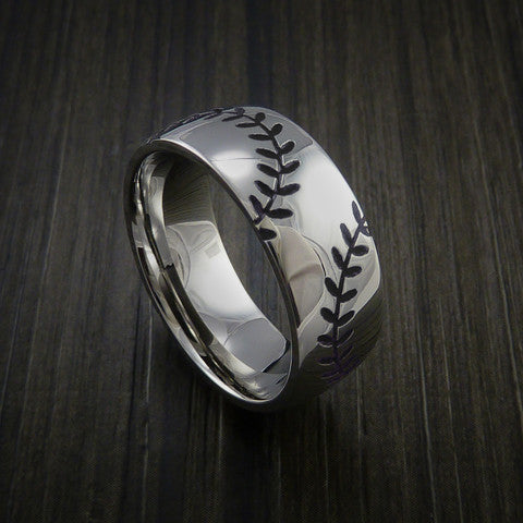 Titanium Double Stitch Baseball Ring with Polish Finish - Baseball Rings  - 11