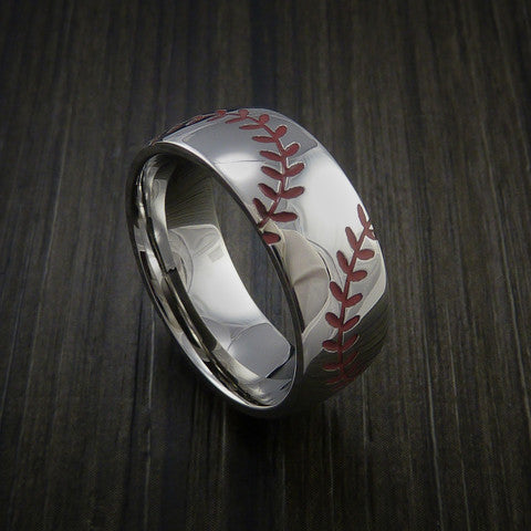 Titanium Double Stitch Baseball Ring with Polish Finish - Baseball Rings  - 2