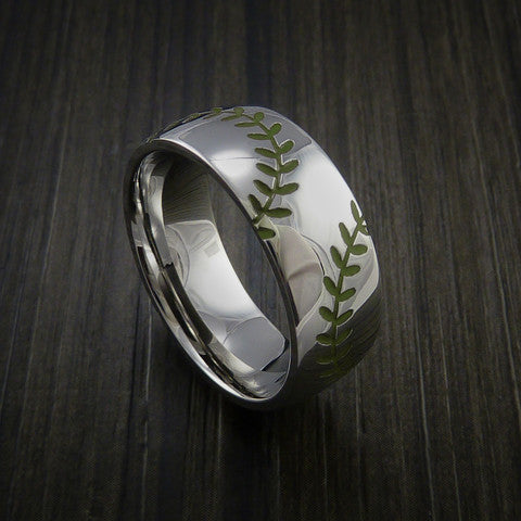 Titanium Double Stitch Baseball Ring with Polish Finish - Baseball Rings  - 5