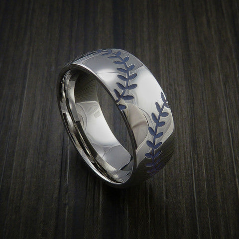Titanium Double Stitch Baseball Ring with Polish Finish - Baseball Rings  - 6