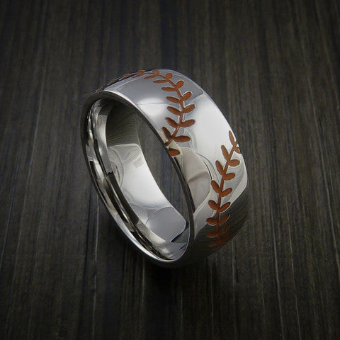 Titanium Double Stitch Baseball Ring with Polish Finish - Baseball Rings  - 3