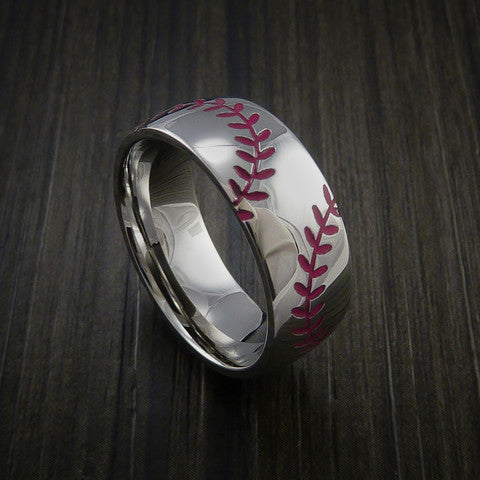 Titanium Double Stitch Baseball Ring with Polish Finish - Baseball Rings  - 10
