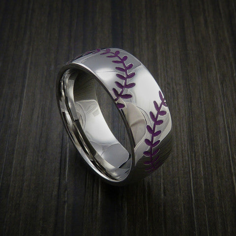 Titanium Double Stitch Baseball Ring with Polish Finish - Baseball Rings  - 9